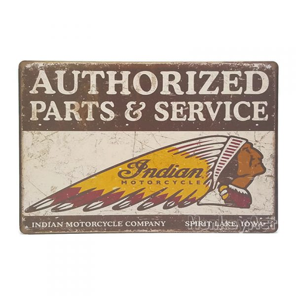 ป้ายสังกะสี Indian Motorcycle Authorized Parts & Service