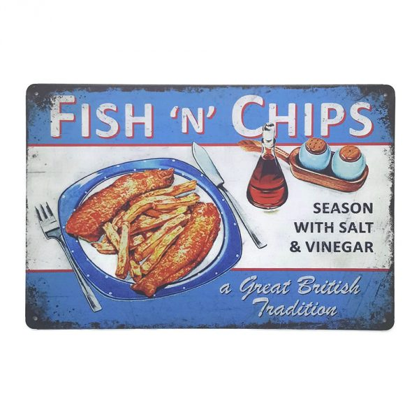 ป้ายสังกะสี Fish 'n' Chips Season With Salt & Vinegar