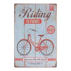 ป้ายสังกะสี Riding is Fun Enjoy your life with bicycle