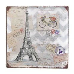 Vintage Eiffel and Bicycle postcard