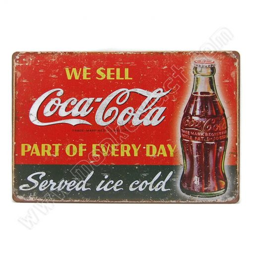 ป้ายสังกะสี We Sell Coca Cola part of every day