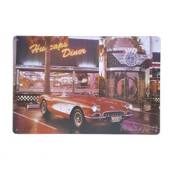 ป้ายสังกะสี Hubcaps Diner with Chevrolet Corvette