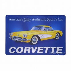 ป้ายสังกะสีวินเทจ Chevrolet Corvette America's Only Authentic Sport's Car